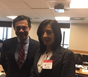 Insieme a Hoyt Brian Yee, esperto di Europa ed Eurasia al Dipartimento di Stato americano e relatore, nell'incontro di Delegazione, per le questioni legate a Balcani ed Est Europa.